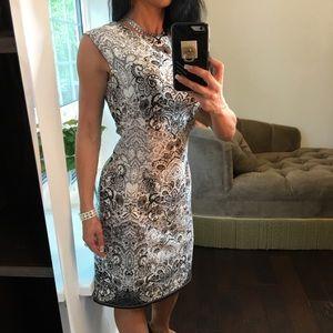 Karin Stevens paisley grey black ivory dress